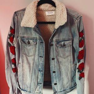 Floral Trucker Denim Jacket
